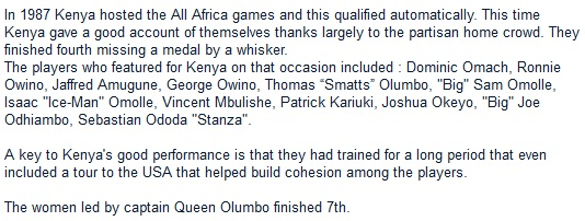 In 1987 Kenya hosted the All Africa games and this qualified automatically. This time Kenya gave a good account of themselves thanks largely to the partisan home crowd. They finished fourth missing a medal by a whisker.