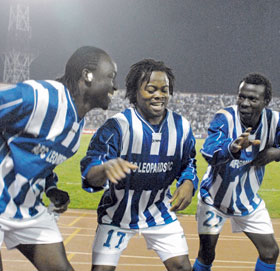 Demonde Selenga celebrates after scoring for AFC