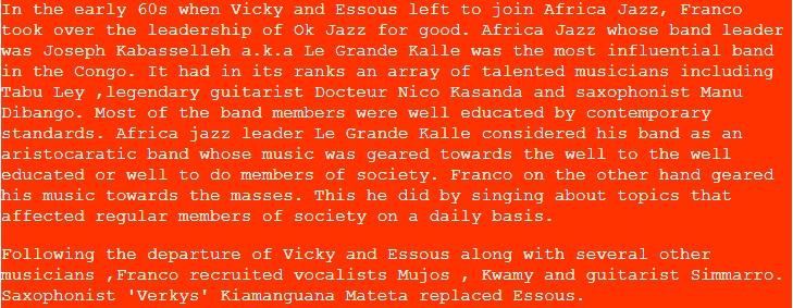 Franco Luambo, Vicky Longomba, Essous