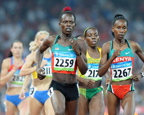 Pamela Jelimo and Janeth Jepkosgei executed a Kenya 1-2 in the 800m.